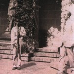 Georgios Papandreou at the front entrance of the Greek Delegation hotel in Cava de' Tirreni, 1944