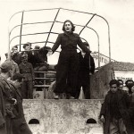 "Miranda reciting with the ""Mountain Theatre"" troupe during the German occupation"